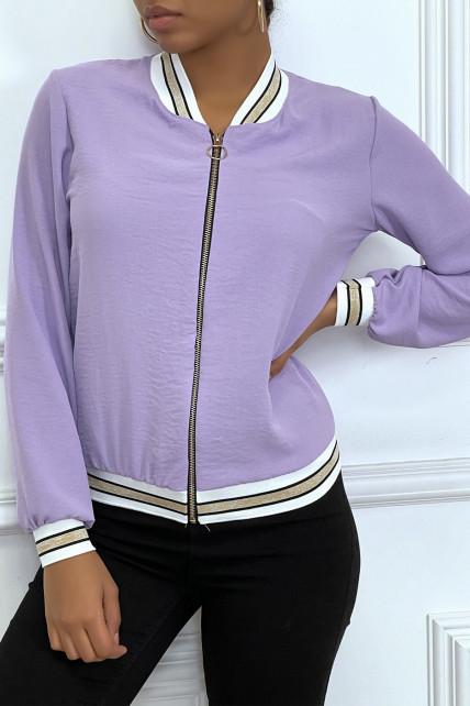 Veste fluide lilas légère à zip et bordure dorée