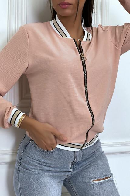Veste fluide rose poudré légère à zip et bordure dorée