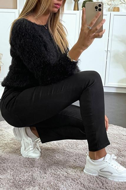 jean droit noir avec poches arrière