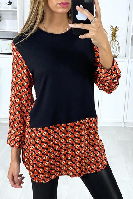 Robe tunique noir et rouge col chemise avec joli motif