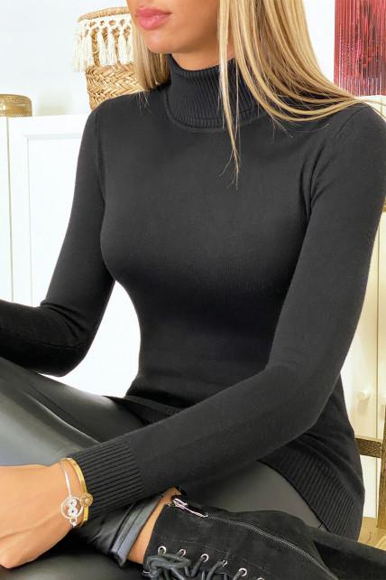 Pull col roulé noir en maille tricot très extensible et doux