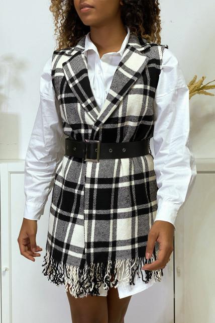 Jolie veste à carreaux sans manche composé de laine avec ceinture