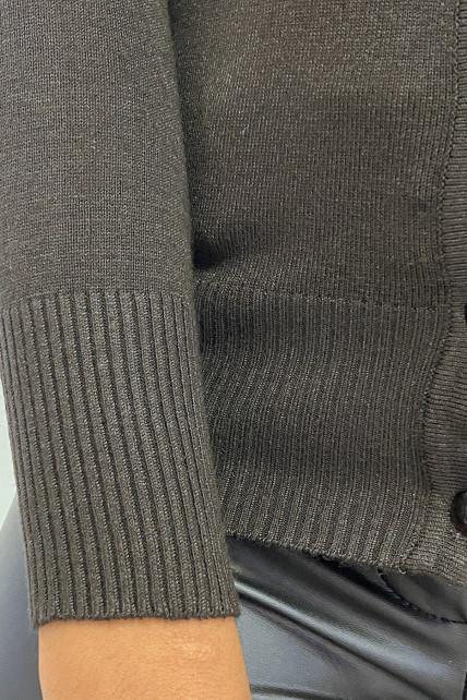 Gilet marron en maille tricot très extensible et très doux