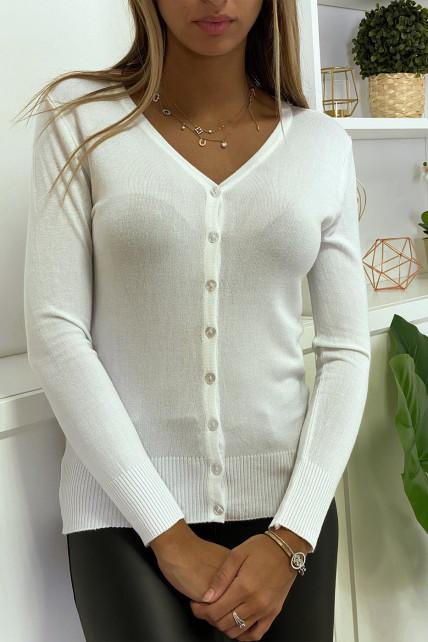 Gilet blanc en maille tricot très extensible et très doux