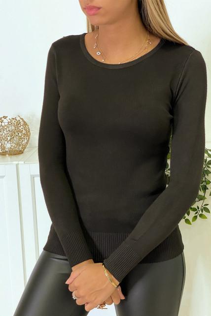 Pull marron col rond en maille tricot très extensible et très doux