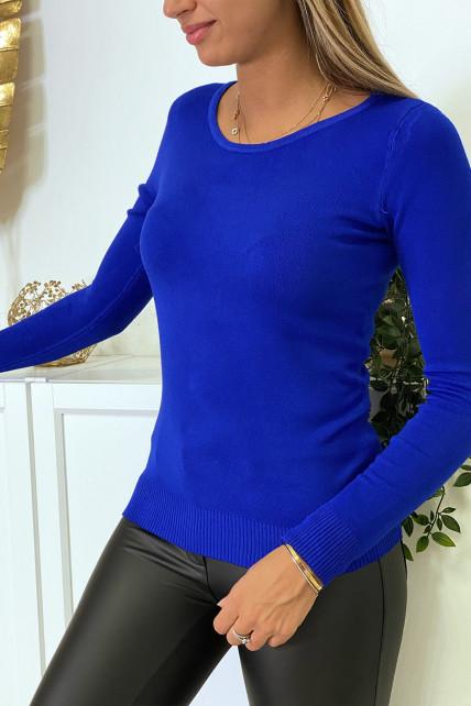 Pull royal col rond en maille tricot très extensible et très doux