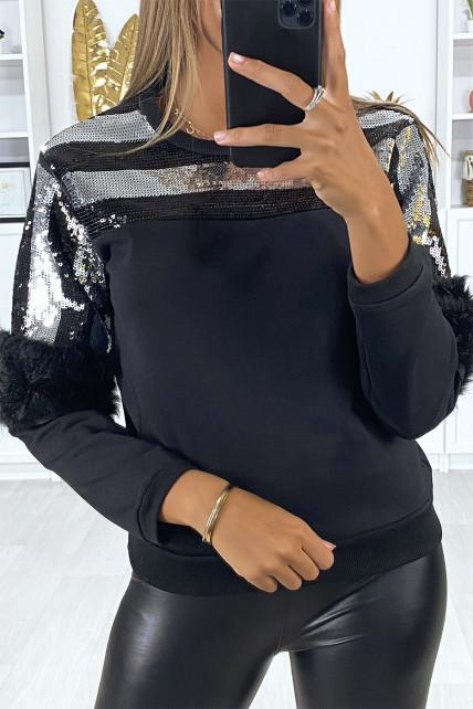 Sweat noir pailleté au buste avec fourrure synthétique aux manches