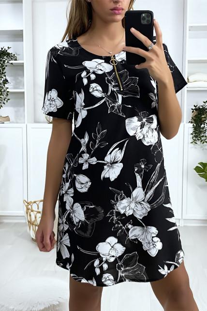 Robe tunique fleuris noir blanc et gris avec zip au col