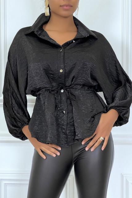 Chemise noire à cordon à la taille, effet satiné