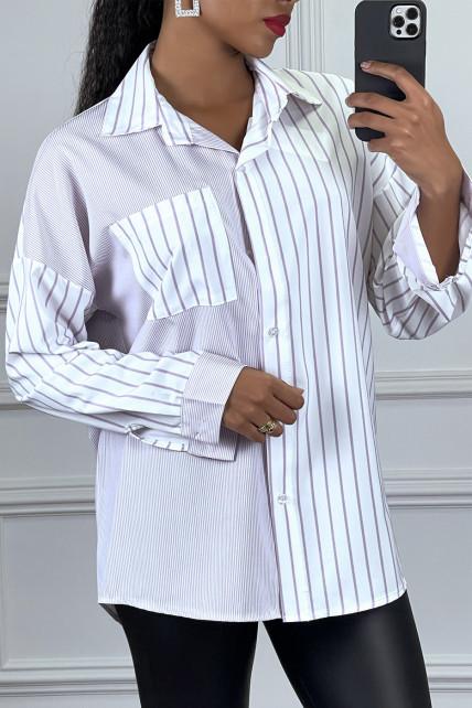 Chemise rayé avec deux motif lila et blanc