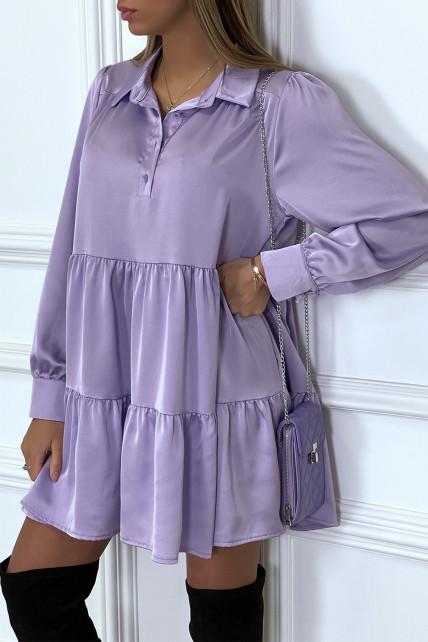 Robe chemise lila satinée à volant