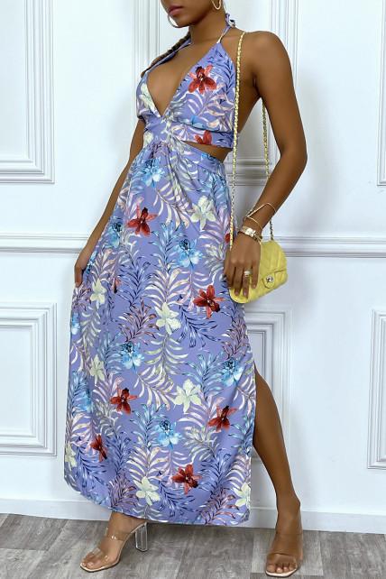 Sublime robe longue d'été à imprimé tropical lila et découpe décolleté et dos nu
