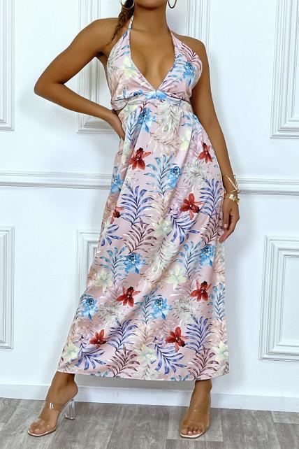Sublime robe longue d'été à imprimé tropical rose et découpe décolleté et dos nu