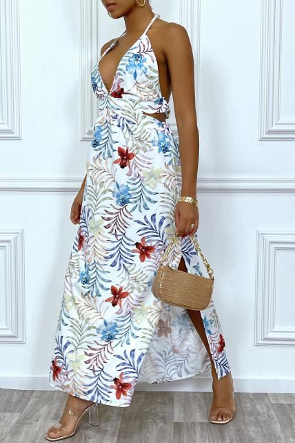 Sublime robe longue d'été à imprimé tropical blanche et découpe décolleté et dos nu