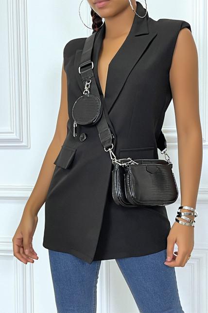 veste blazer cintrée noir avec epaulette et boutons