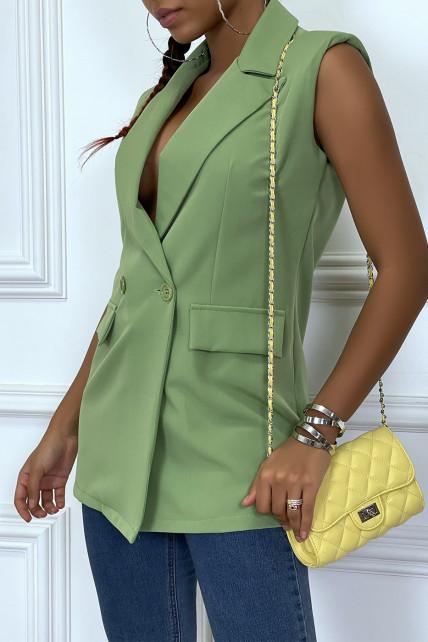 veste blazer cintrée verte avec epaulette et boutons