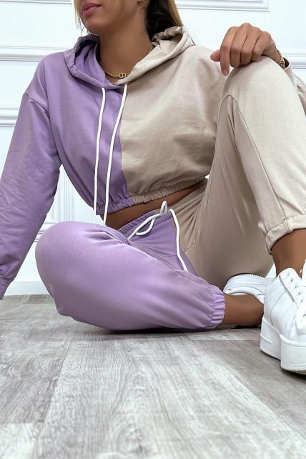 Ensemble jogging bicolor lila/beige crop sweat resserré