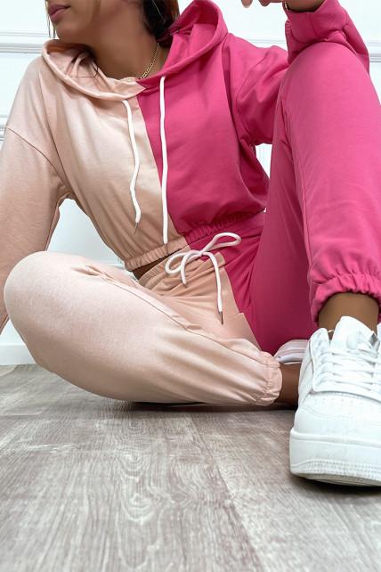 Ensemble jogging bicolor rose/fuchsia crop sweat resserré