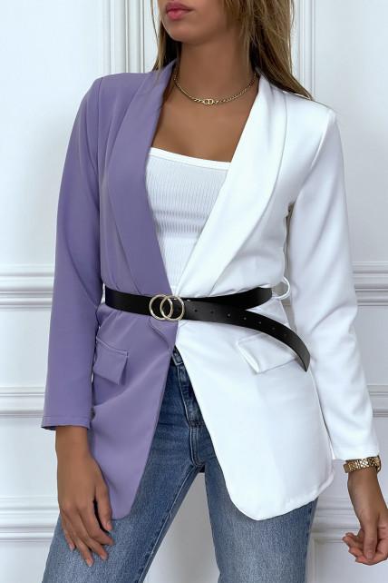 Blazer bi-color blanc et violet avec ceinture et col revers