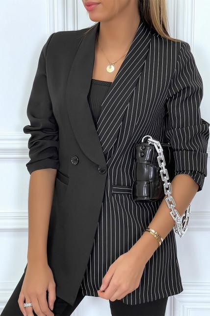 Blazer bi color noir et noir rayé avec col revers
