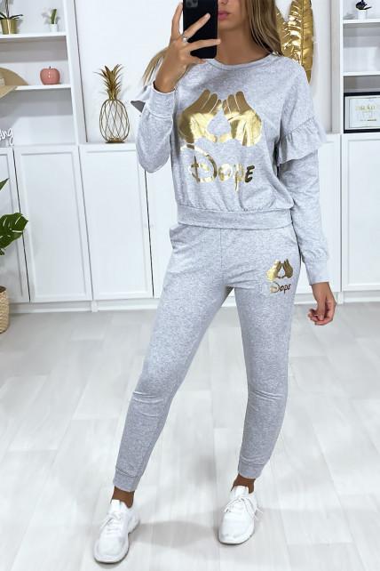 Ensemble gris avec poches au jogging et écriture motif doré au sweat
