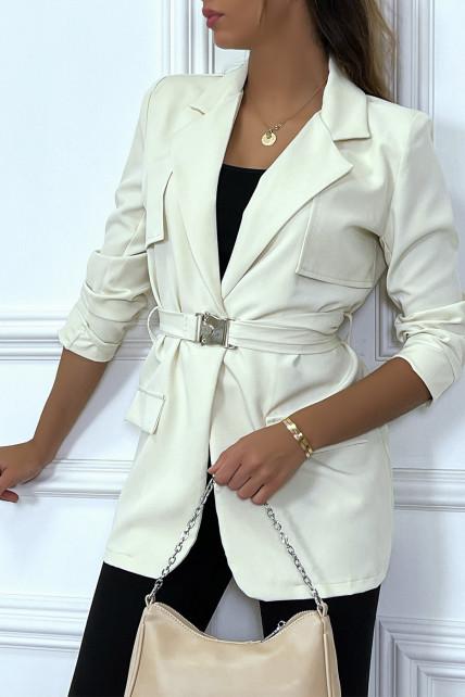 Blazer blanc à ceinture clips et manches longues