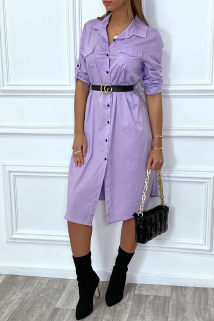 Longue robe chemise lila avec poches ceinture et fente