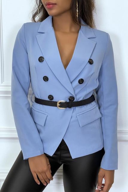 Blazer bleu col revers à ceinture brillante