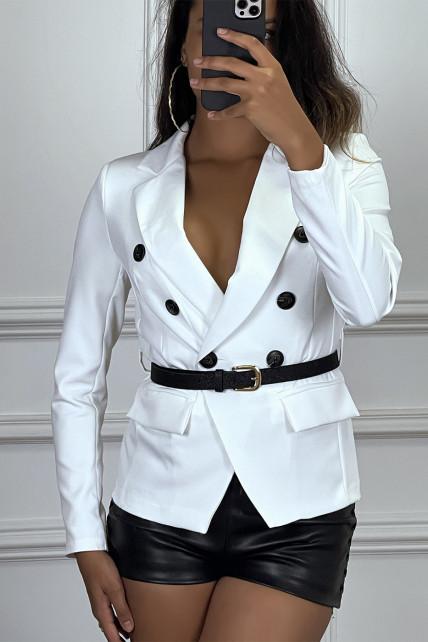 Blazer blanc col revers à ceinture brillante