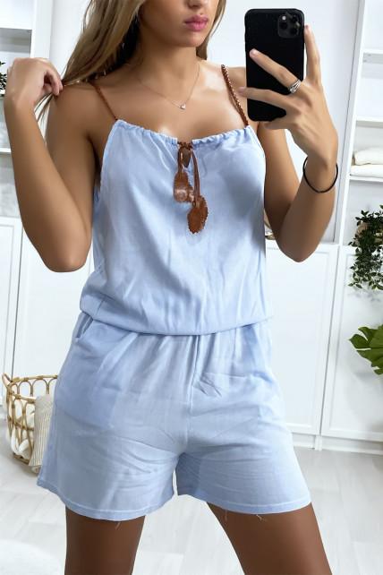 Combi-short bleu en coton avec lacet au bretelle et noeud au col