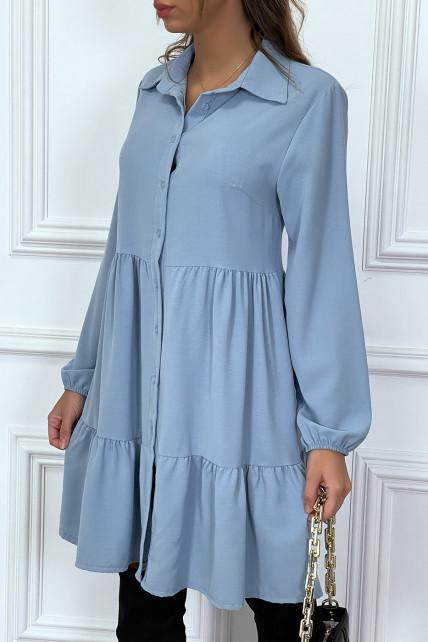 Robe chemise bleu à volant et boutons