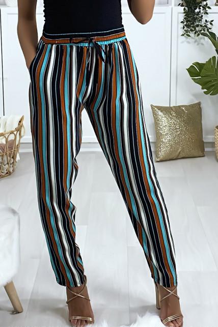 Pantalon à dominance turquoise en coton rayé avec poches