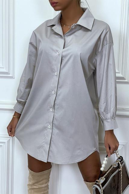 Robe chemise grise asymétrique en coton