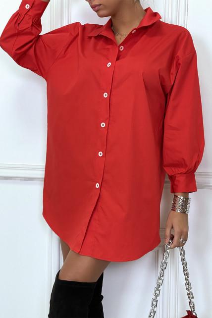 Robe chemise rouge asymétrique en coton