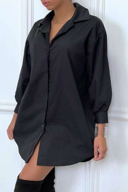 Robe chemise noire asymétrique en coton