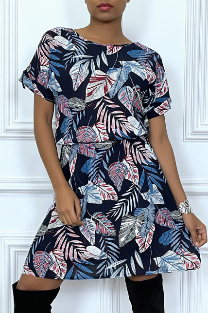 Robe marine ample et élastique à la taille motif feuilles super tendance