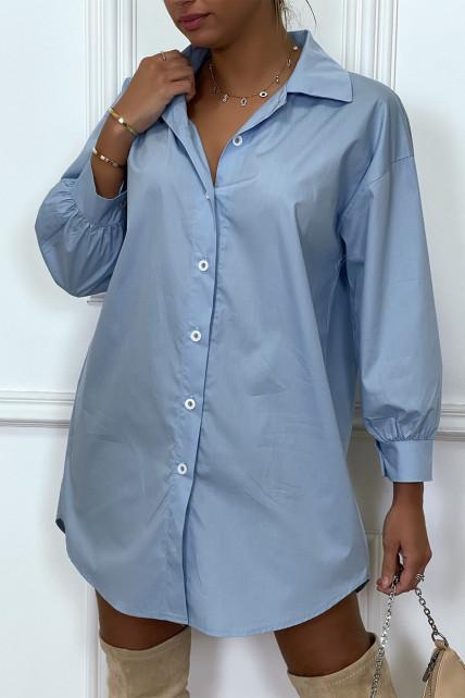 Robe chemise turquoise asymétrique en coton