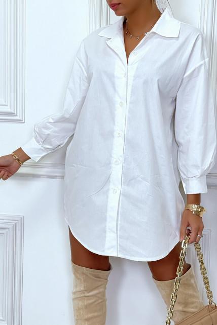Robe chemise blanche asymétrique en coton