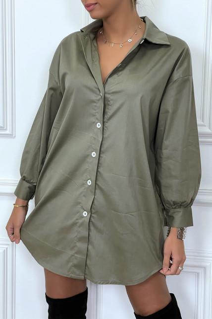 Robe chemise kaki asymétrique en coton
