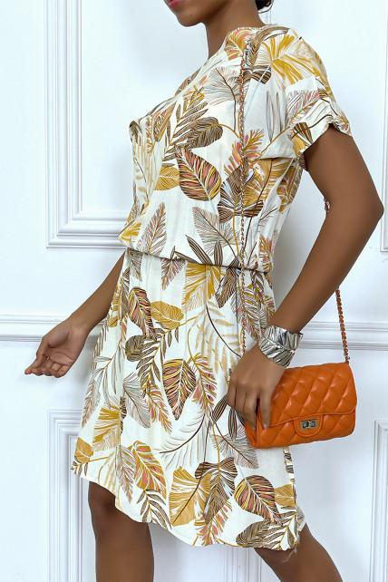 Robe beige ample et élastique à la taille motif feuilles super tendance