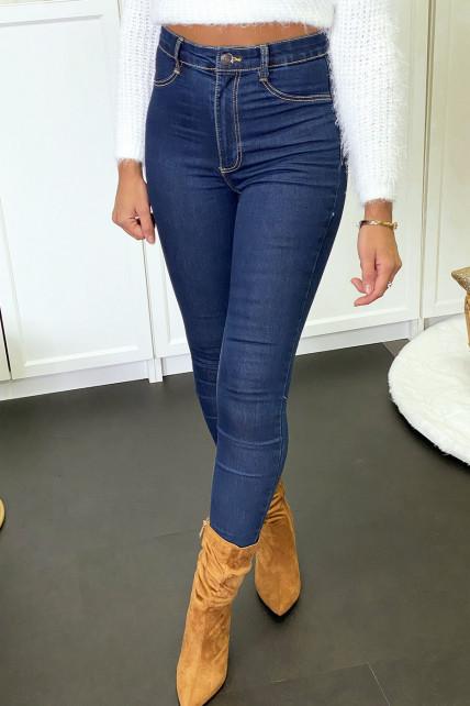 Pantalon jeans slim bleu marine avec poches arrières