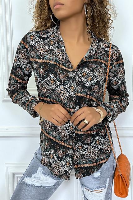 Chemise mi-longue noir à motif aztèque