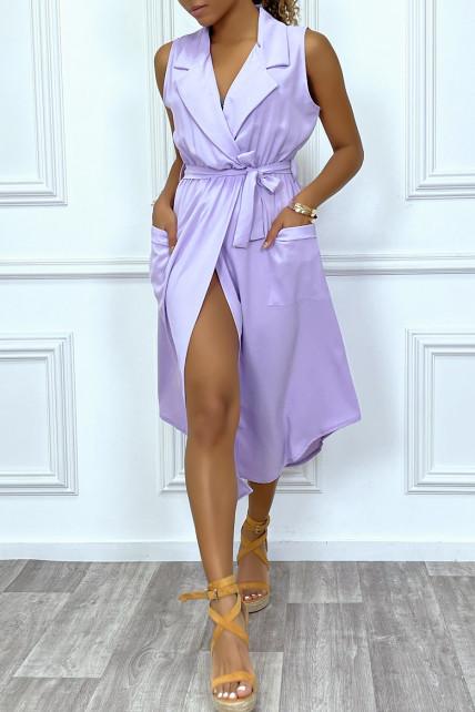 Robe longue violette style portefeuille avec col
