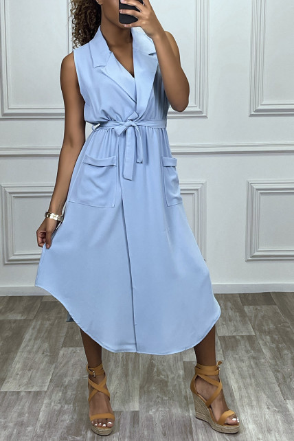 Robe longue turquoise style portefeuille avec col