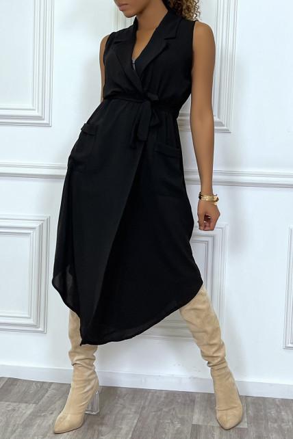 Robe longue noire style portefeuille avec col