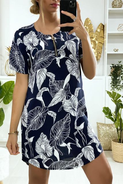 Robe tunique marine motif feuilles avec zip au col