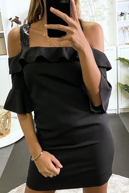 Robe de soirée noir avec bretelle pailleté et volant au buste