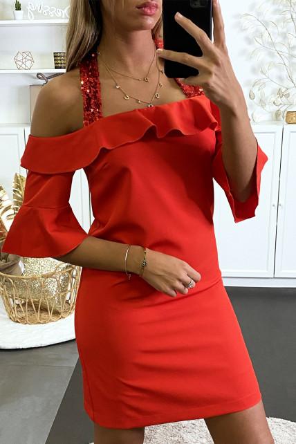 Robe de soirée rouge avec bretelle pailleté et volant au buste