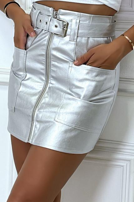 Mini jupe argentée zippé en simili à poche et ceinture