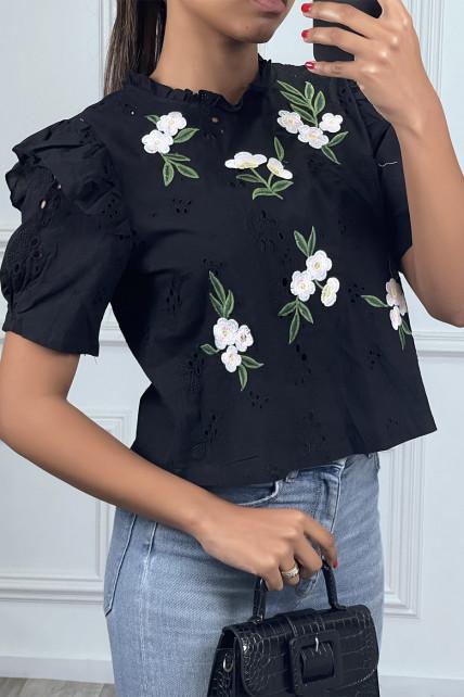 Blouse à manches courtes noir avec fleurs brodées